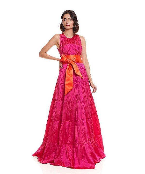 Vestido longo rodado franzido