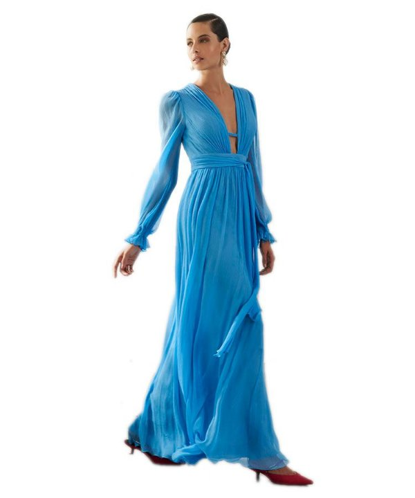 Vestido longo com decote prufundo