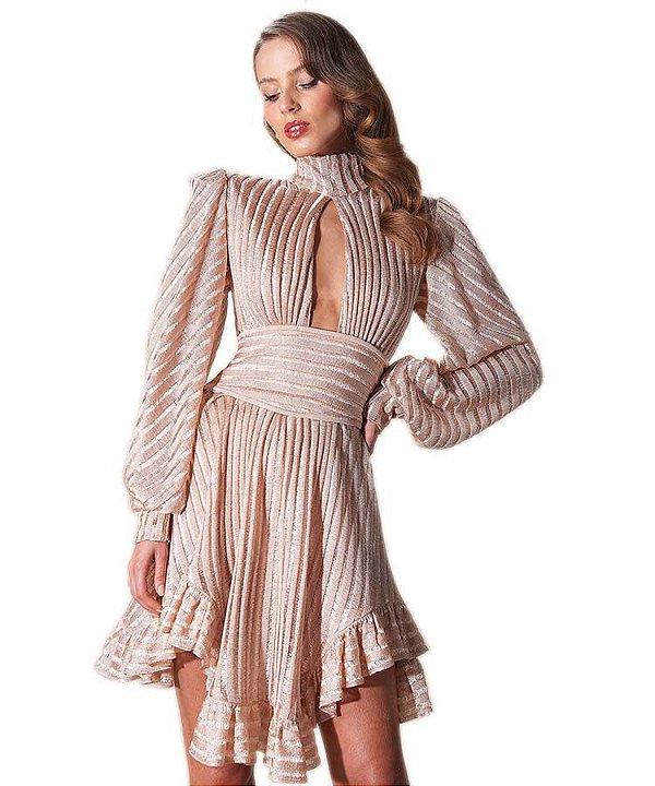 Vestido decote tricô