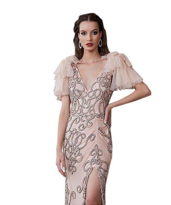 Vestido longo tule bordado fenda