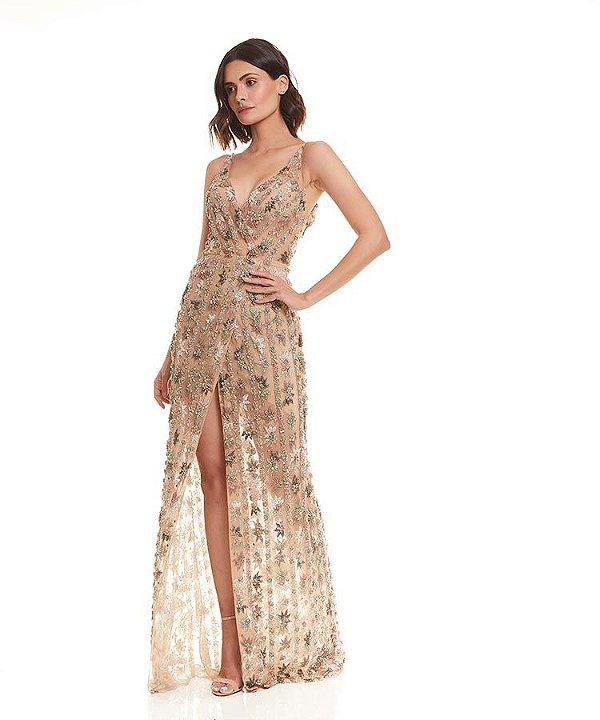 Vestido longo bordado alça fina