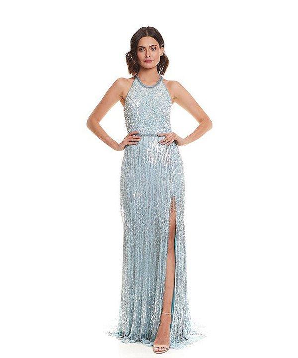 Vestido azul com franjas