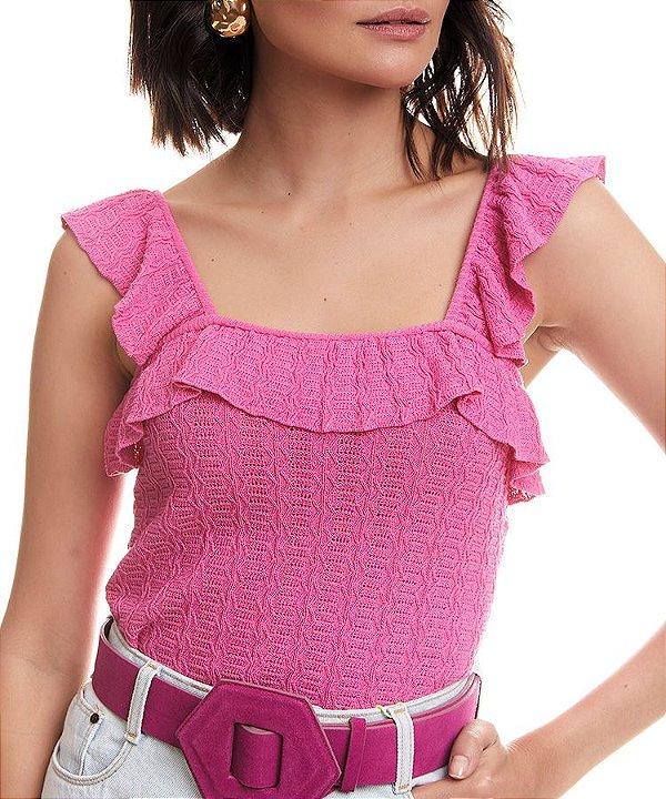 Blusa babado tricot