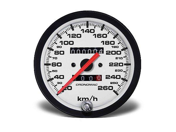 VELOCÍMETRO 100MM MECÂNICO 260km/h 2 HODÔMETROS STREET BRANCO CRONOMAC