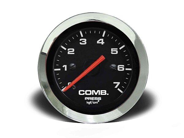MANÔMETRO COMBUSTÍVEL 52MM MEC 7KG CROMA PRETO (155207CP) CRONOMAC