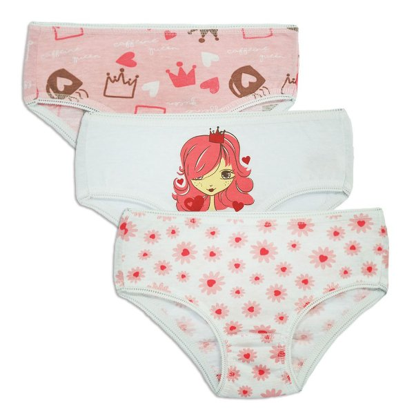 Ref: 0122N Kit Infantil c/3 Calcinhas Dancing Queen 100% algodão