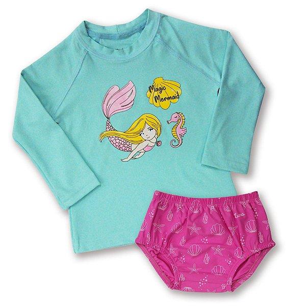 Ref:UV30D Conj. Bebê Camiseta/Sunguete Proteção UV 50+