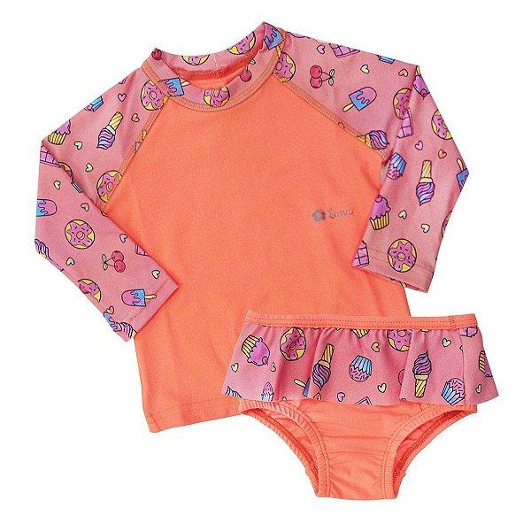 Ref:UV30E Conj. Bebê Camiseta/Sunguete Proteção UV 50+