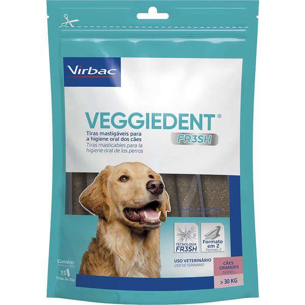 Tiras Mastigáveies Virbac VEGGIEDENT FR3SH para Cães Maiores de 30 Kg