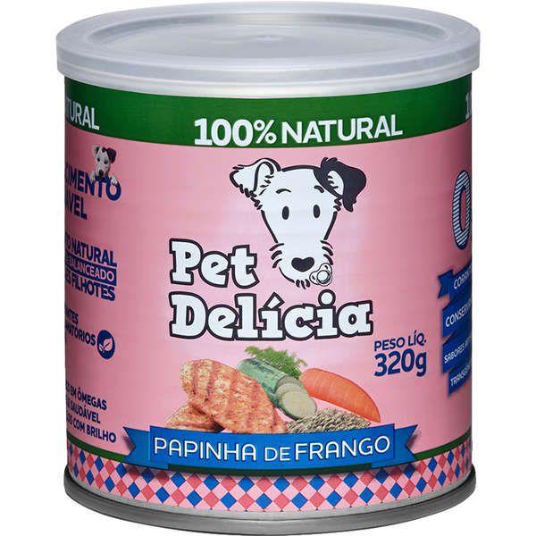 Ração Úmida Pet Delícia Natural Papinha de Frango Crescimento Saudável para Cães Filhotes