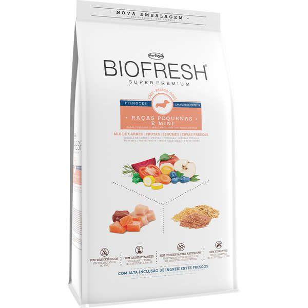 Ração Seca Biofresh Mix de Carne, Frutas, Legumes e Ervas Frescas Cães Filhotes de Raças Pequenas e Minis