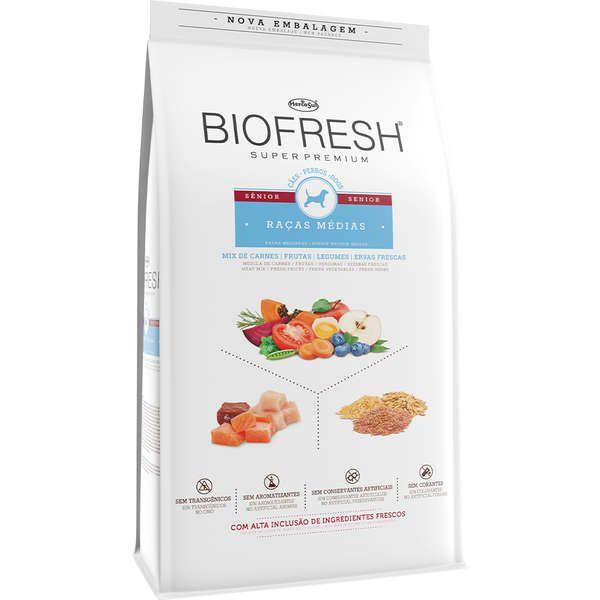 Ração Seca Biofresh Mix de Carne, Frutas, Legumes e Ervas Frescas Cães Sênior de Raças Médias