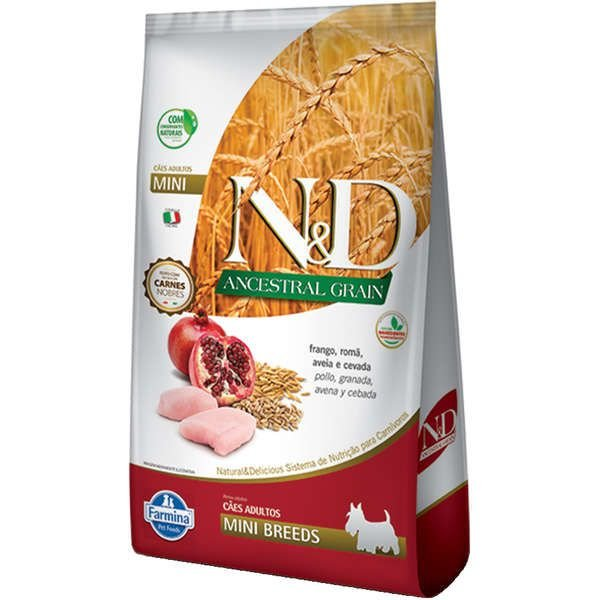 Ração Farmina N&D Ancestral Grain Frango Cães Adultos Raças Pequenas