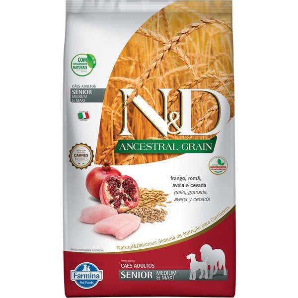 Ração Farmina N&D Ancestral Grain Frango Cães Idosos Raças Médias