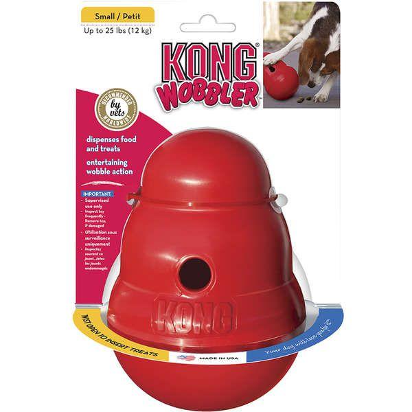 Brinquedo Interativo KONG Wobbler com Dispenser para Ração ou Petisco Vermelho
