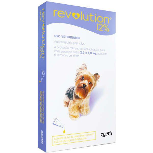 Antipulgas e Carrapatos Zoetis Revolution 12% para Cães de 2,6 a 5 kg - 30 mg