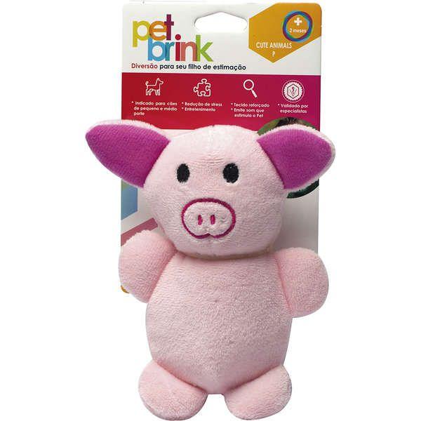 Brinquedo Pelúcia Pet Brink Cute Animals Porco para Cães