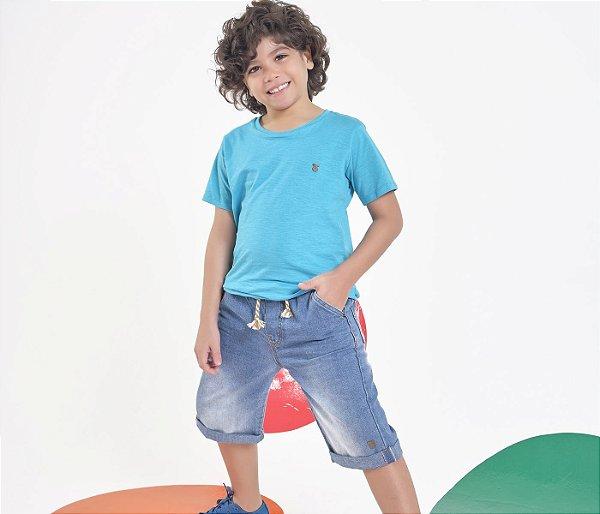 Bermuda Infantil Jeans Claro Com Detalhe de Cadarço