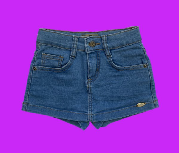 Short  Saia Infantil Jeans azul claro