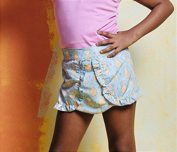 Shorts Tactel Estampas de Abacaxi