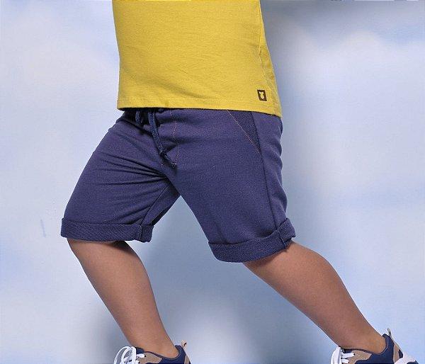 Bermuda de Moleton Infantil Cor Azul