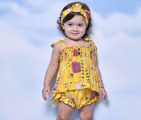Frances Viscose Estampado Cor Amarelo