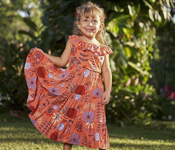 Vestido Viscose Estampa Coral