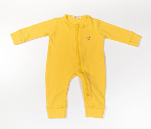 Macacão Longo Bebê com Zíper Cotton Cor Amarelo