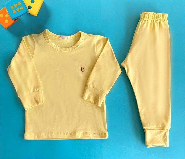 Pijama Infantil Manga longa e Calça Cotton Cor Amarelo