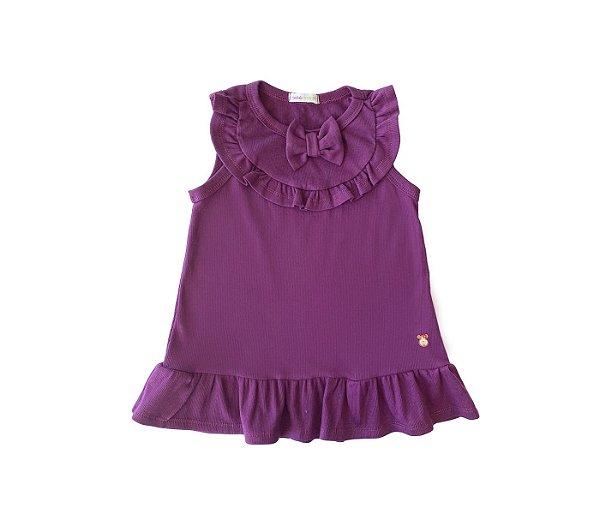 Blusa Infantil básica cheia de estilo roxo