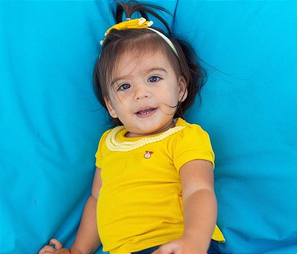 Blusa infantil básica  amarela