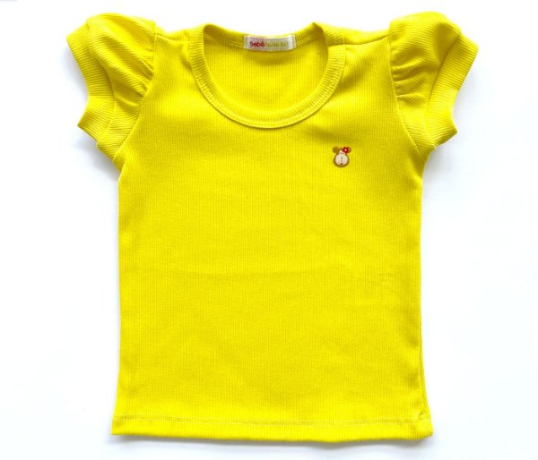 Blusa Infantil Baby Look Malha Canelada cor amarela