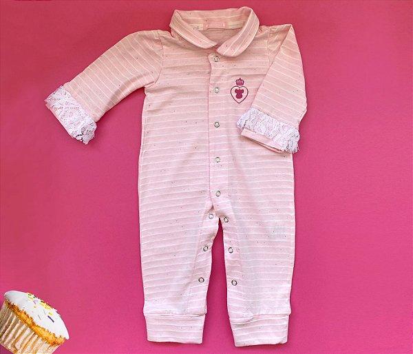 Macacão Bebê Rosa Claro