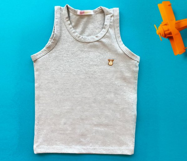 Regata Infantil Básica Cotton Cor Cinza