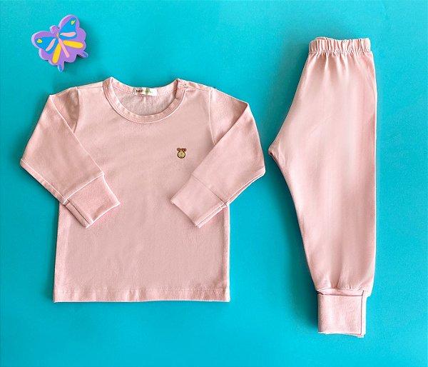 Pijama Infantil Manga longa e Calça Cotton Cor Rosa