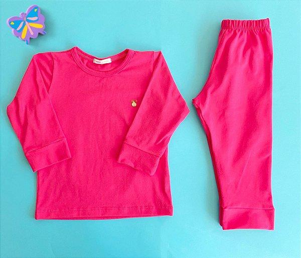 Pijama Infantil Manga longa e Calça Cotton Cor Rosa Pink