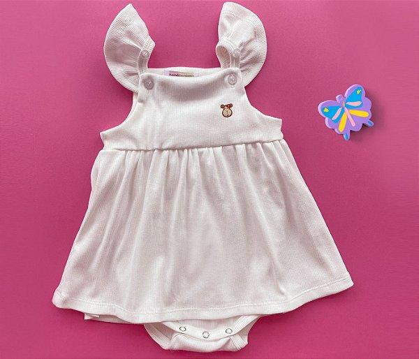 Francês Body Bebê Malha Canelada Cor Bege