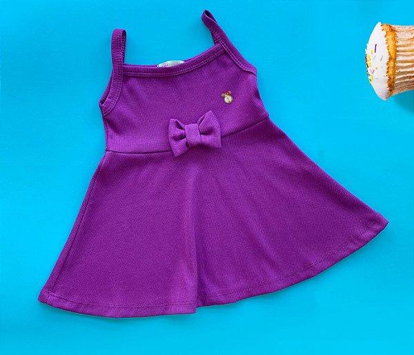 Malha Vestido infantil cheio de estilo cor Roxo