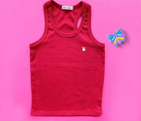 Camiseta Infantil Malha Canelada Cor Vermelho