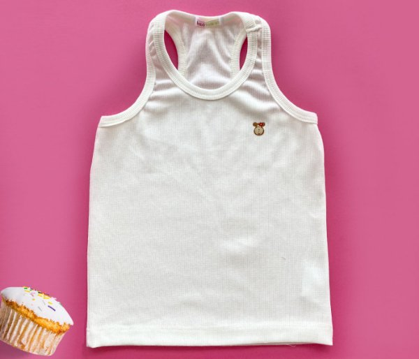 Camiseta Infantil Malha Canelada Cor Bege