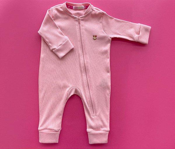 Macacão Bebê Básico Canelado Rosa