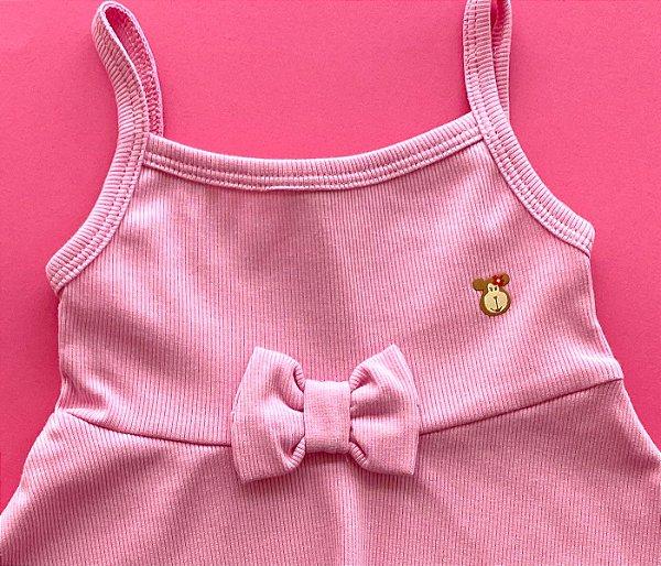 Vestido Evasê Infantil Malha Canelada Rosa Bebê