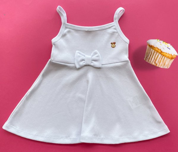 Vestido Evasê  Malha Canelada Branco