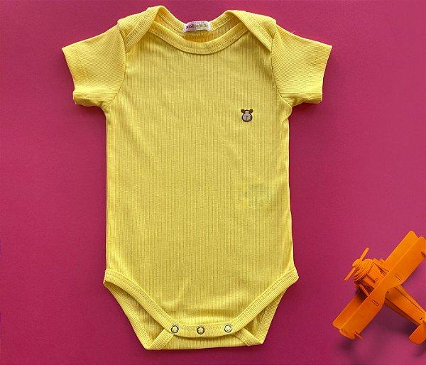 Body Com Manga Bebê Malha Canelada Amarelo