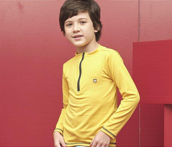 Camisa  de Malha Proteção Solar Cor Amarelo com Zíper
