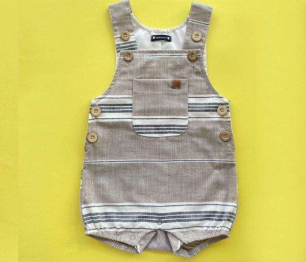 Francês Bebê Linho Listras