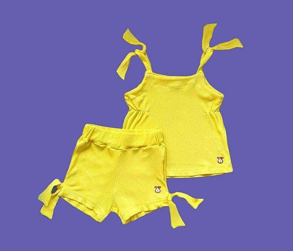 Conjunto Meninas Canelado Cor Amarelo