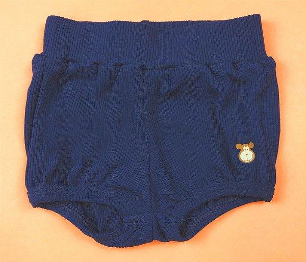 Short Infantil Básico Canelado Cor Azul Marinho