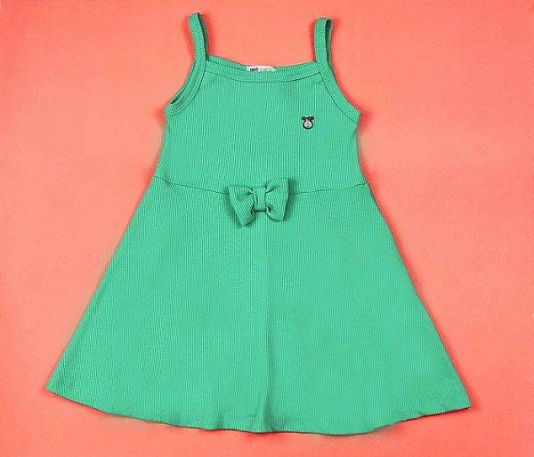 Vestido Canelado Color Cor Verde Claro