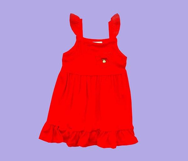Vestido Básico Malha canelada Cor Vermelho